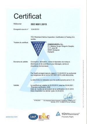 Certificat ISO Osmoeuropa