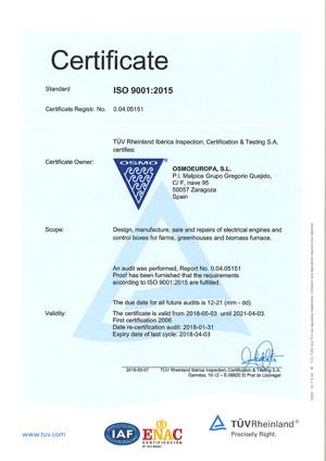 Certificate ISO Osmoeuropa